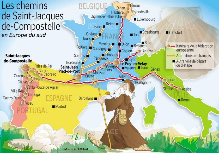 Les grands pèlerinages chrétiens à partir de l`Angleterre au Moyen-Âge - Canterbury -Terre-Sainte - Rome - Compostelle Trollix-compostelle-fait-marcher-l-europe